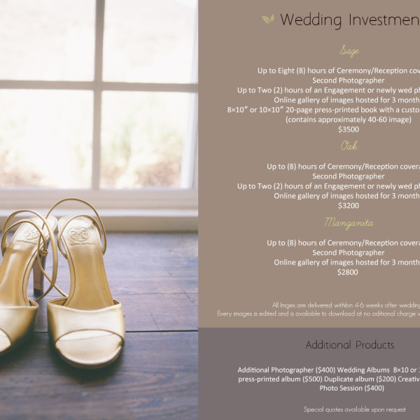 Wedding Photography Pricing